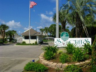 The gated entrance to our townhome complex, SeaCliffs Beach Homes