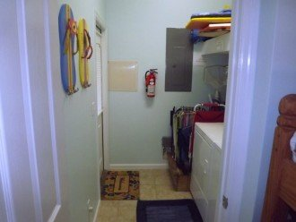Ground floor laundry room with storage rack for our beach gear