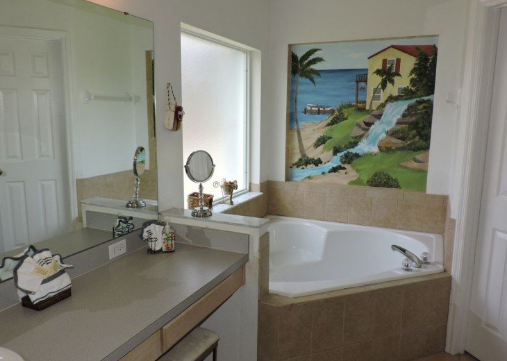 Bathroom with large bathtub