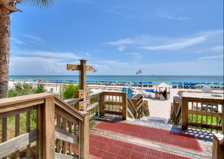 View from the Tiki Bar area towards the private beach for Calypso guests only