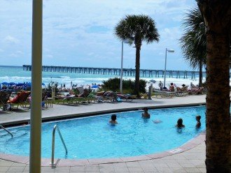View from the large private balcony w/ Gulf of Mexico, beach and pier in view