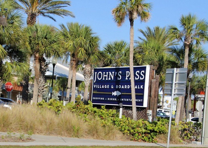 Historic John's Pass and all the Activities/Shopping Half Mile Walk North.