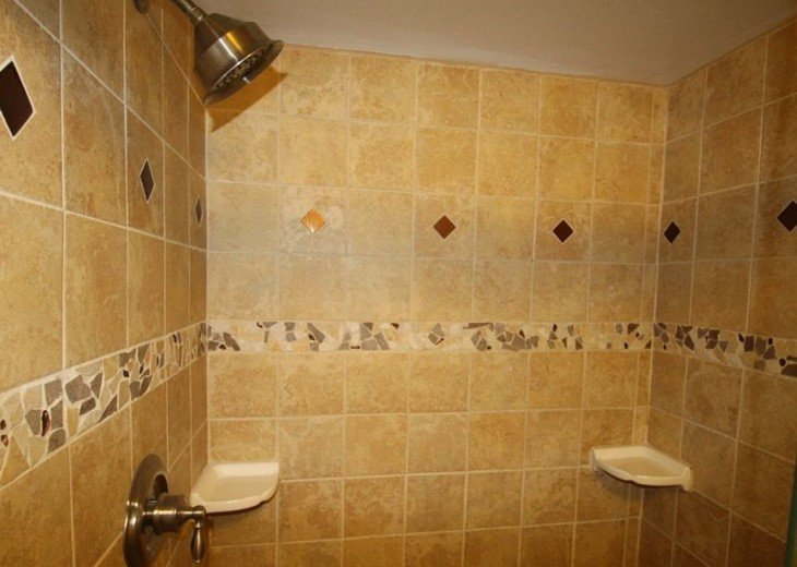 Well appointed and decoratively tiled master bath shower.