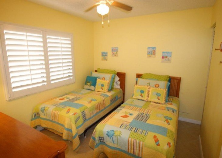 Third Bedroom with Two Twins, closet, dresser & mirror at left - not in picture.