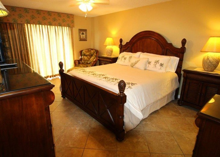 Master Bedroom dresser, mirror, HDTV and access to Gulf Balcony & Views!