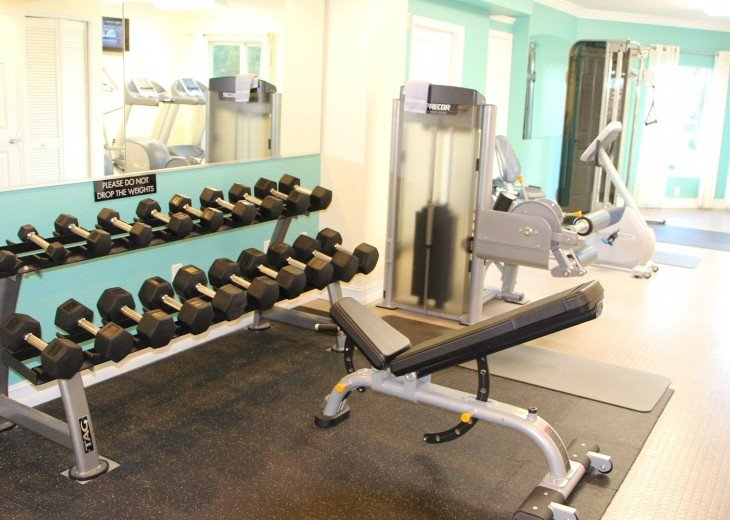 The workout center fully stocked to meet your needs.