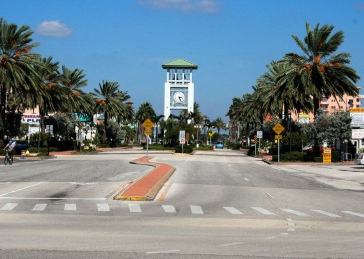 Beautiful Downtown Treasure Island with ParadiseLane Causeway Behind Bell Tower.