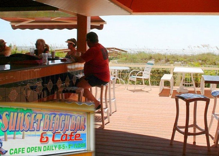 Tiki Bar and Lounge Area Overlooking Entry Ramp to Gorgeous Bright Beaches!