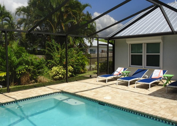 Tropical Landscape with Pool Lounge Chairs