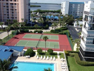 View of intercoastal waterway from entry walkway. Pool clubhouse and deck