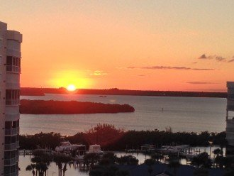 Sunset over intercoastal waterway from entry walkway