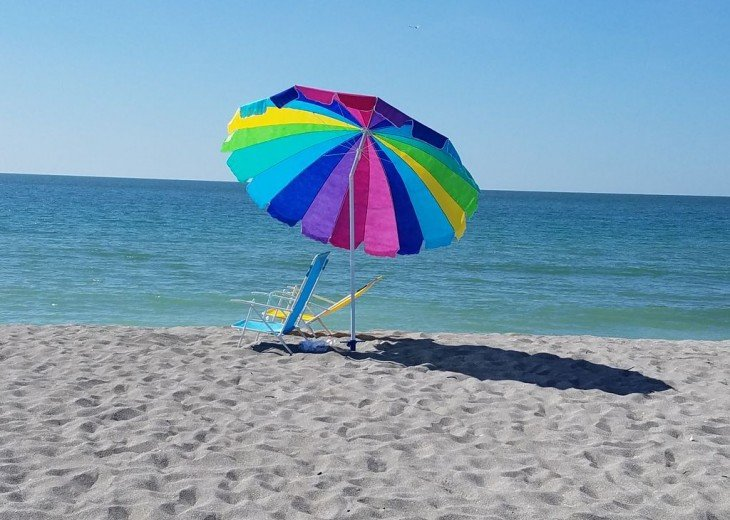We provide our guests with beach chairs and umbrellas