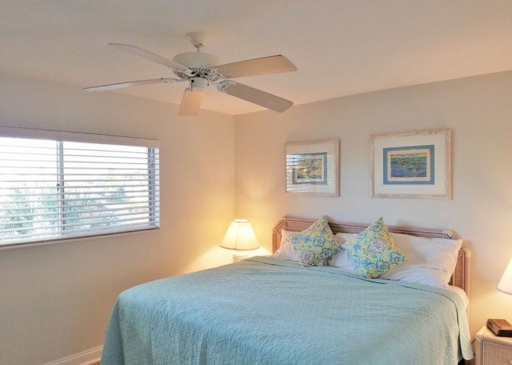Guest bedroom with 3 x 5 foot window overlooking the bay inlet