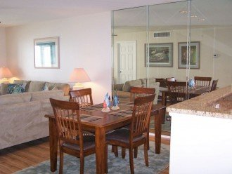 Dining room with direct Gulf view - we have folding chairs to accommodate six