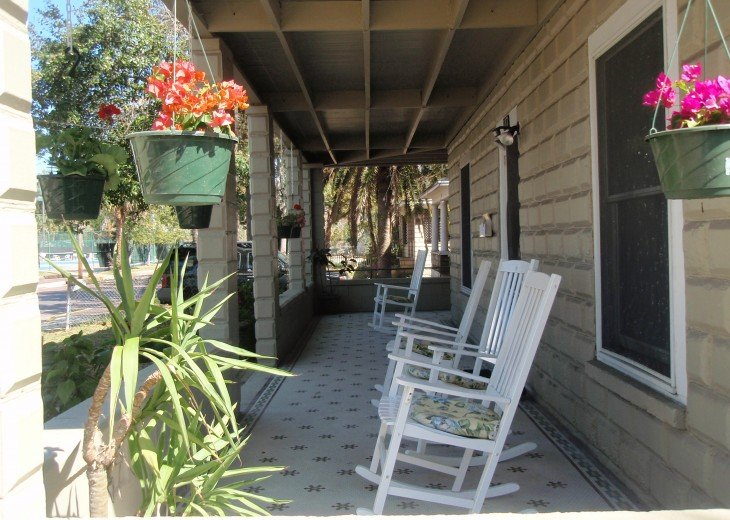 Front Porch with mosaic tile - Great to enjoy a cup of coffee or glass of wine
