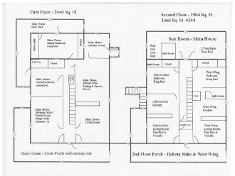 Floor Plan for Main House, Dakota Suite and West Wing