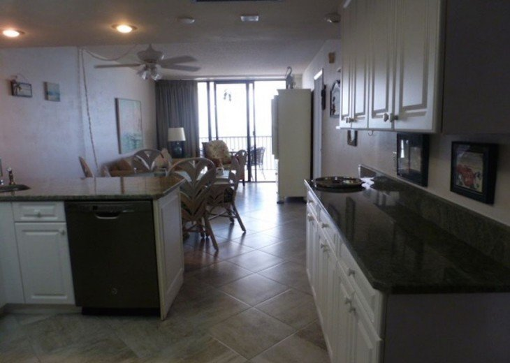 Kitchen, looking out toward ocean.