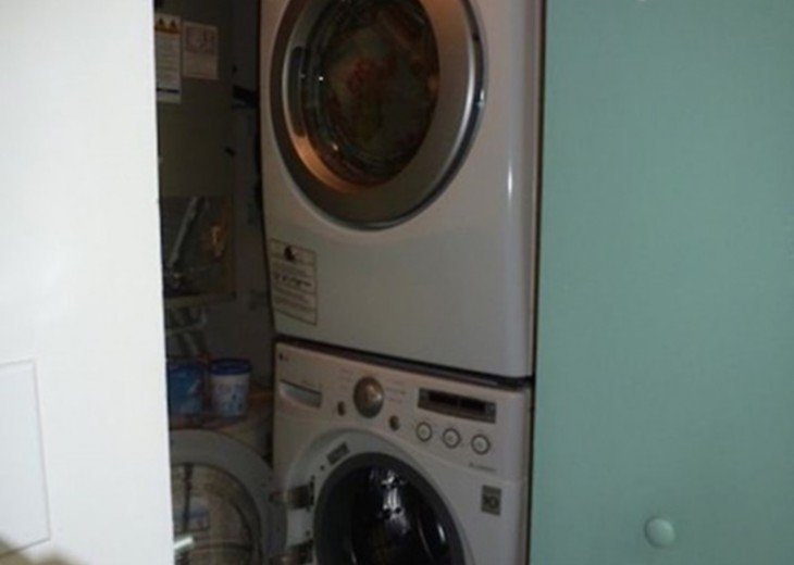 Full size front-loading washer and dryer in our condo.