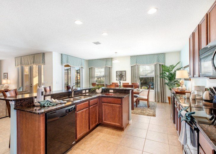 Kitchen overlooking the dining and family living room