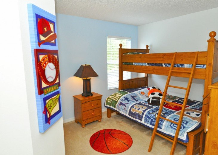 Bedroom 5 - triple bunk bed (double with single on top) & TV (sleeps 3)