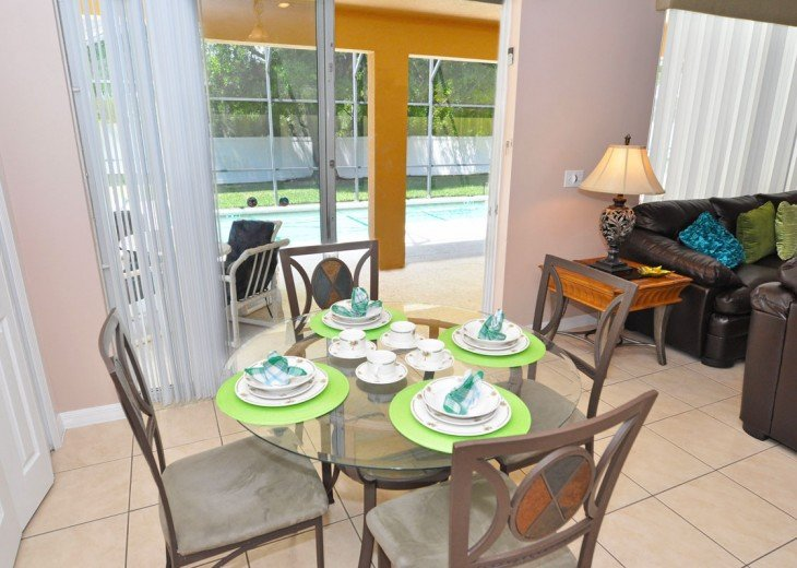 Breakfast nook overlooking the pool deck - great place to plan the day ahead