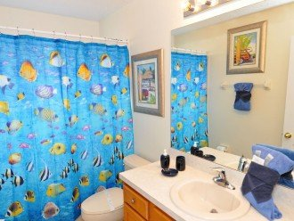 Family bathroom between bedroom 5 & 6. Bath with shower over