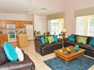 Open plan accommodation - kitchen overlooks the family room.