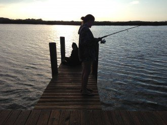 Fishing from the dock at JB's