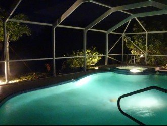 Pool at night with Landscape Lights