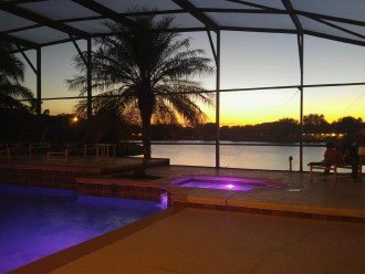 our pool in early evening