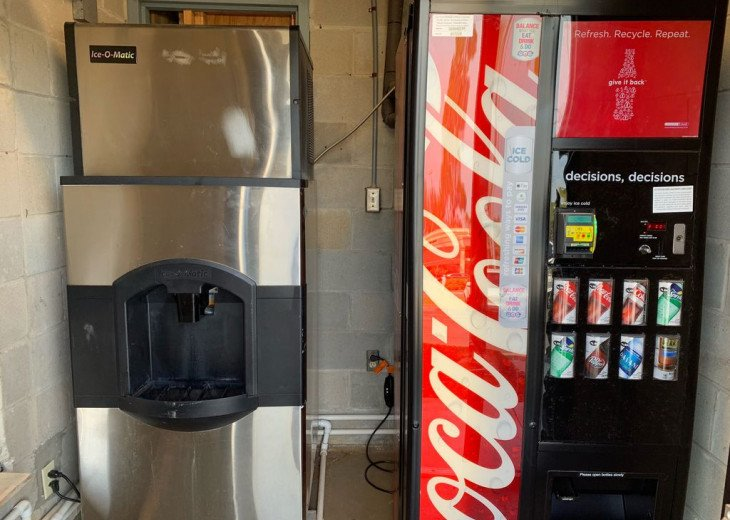 Ice and Vending machines on the 1st floor of each building