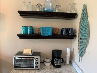 Coffee is bar is fully equipped - Dishes, Pots & Pans, silverware, etc.