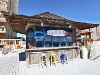 Tiki hut. Serves Food and Drinks