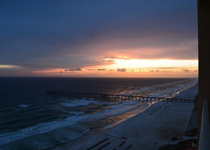 Sunset from our balcony. This is why you want to be on the 18th floor.