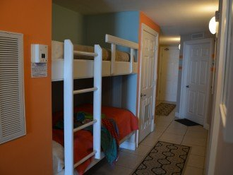 Bunks in the hallway for kids of all sizes.