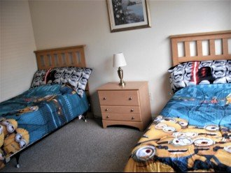 a set of twin beds