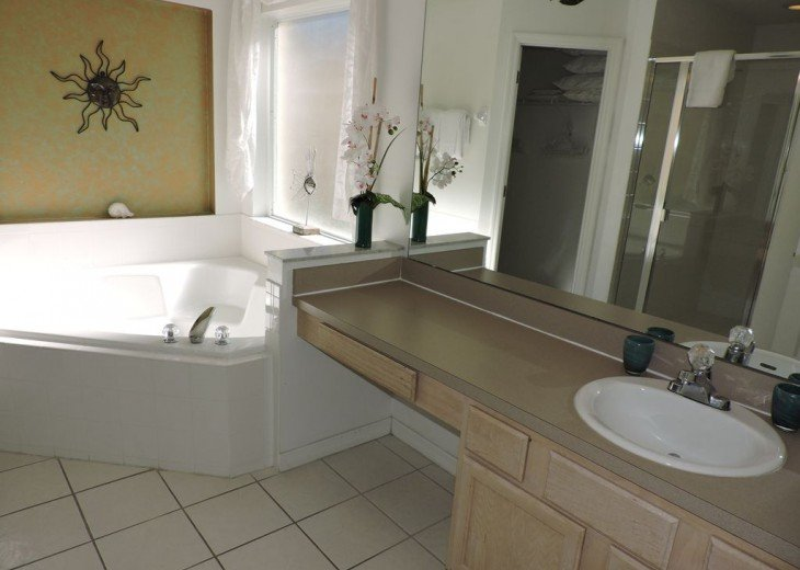 Master ensuite bathroom with large bath tub
