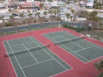 Tennis courts, sand volleyball, shuffle board, 3 swimming pools, snack shop