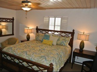 Master bedroom with king bed, desk, walk in closet.
