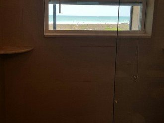 Beach view from shower in Guest bathroom.
