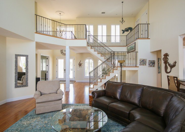 There are stairs but there is another master bedroom on this level.