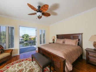 """2nd level Master Bedroom, king bed, 48"""" TV, deck patio."""