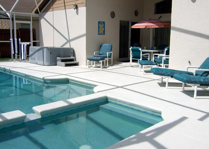 Our large pool area has a large sun deck and privacy fencing to all sides