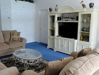 Living Area with entertainment unit including large LCD TV