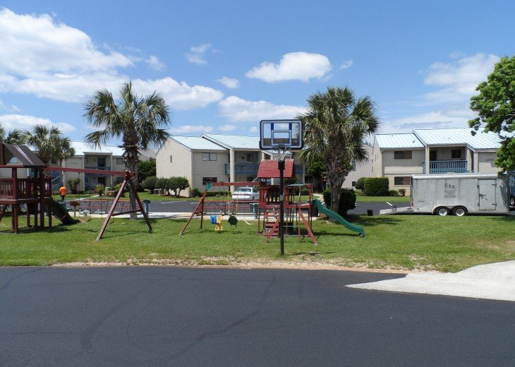 Playground and basketball area
