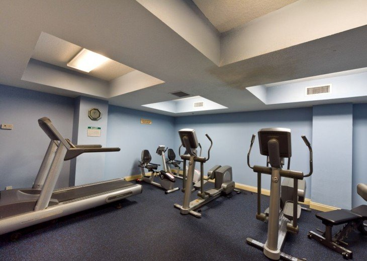 Stay fit in our air-conditioned workout room.