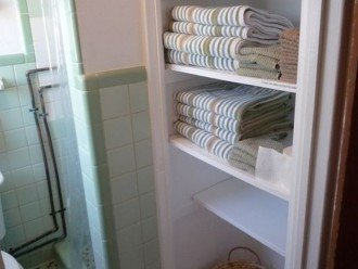 Linens Provided-Shower only, not a tub. We have larger properties if you need
