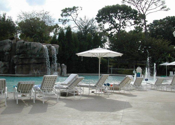 water fall at pool