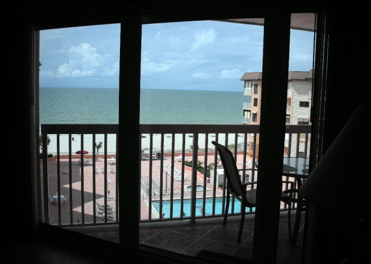 view of beach from inside the condo