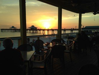 Sunset drinks & dinner by the Pier, 15 minute walk from the condo.